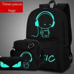 HiDook Male Outdoor Travel Sets Anti-theft Computer Backpack Fluorescence School Student Light Bag 3pcs A M