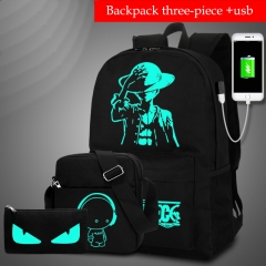 HiDook Male Outdoor Travel Sets Bag Anti-theft Computer Backpack USB Fluorescence Student Light Bag 3pcs A s