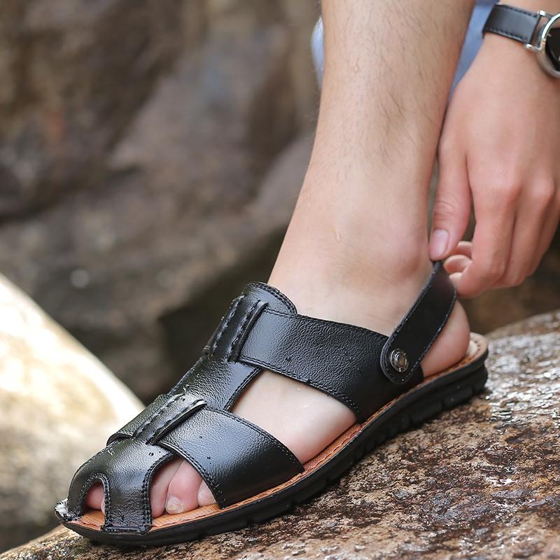 5e7febd84 HiDook Summer Trend Men s Leather Large Size Anti-slip Sandals ...