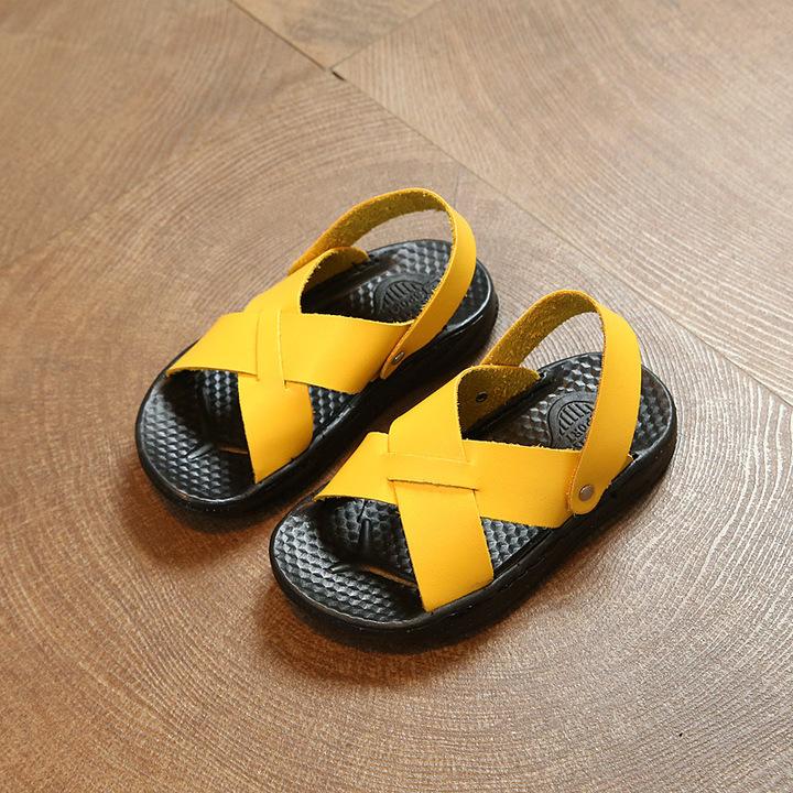 HiDook Summer Children's Soft Bottom Sandals Kids Sport Beach Toddler  Boys Shoes yellow 21