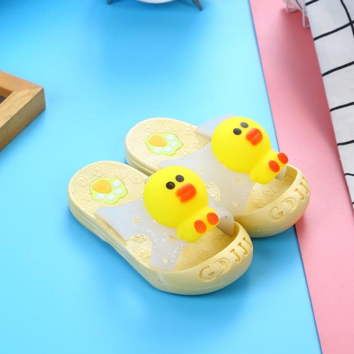 HiDook Children's Casual Slippers Cartoon Animal Soft Bottom Non-slip Baby Boys Girls Sandals yellow duck 23