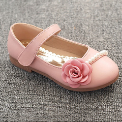 HiDook New Fashion Girls Soft Sole Tide Leisure Flat Leather Children Flowers Princess Party Shoes pink 26