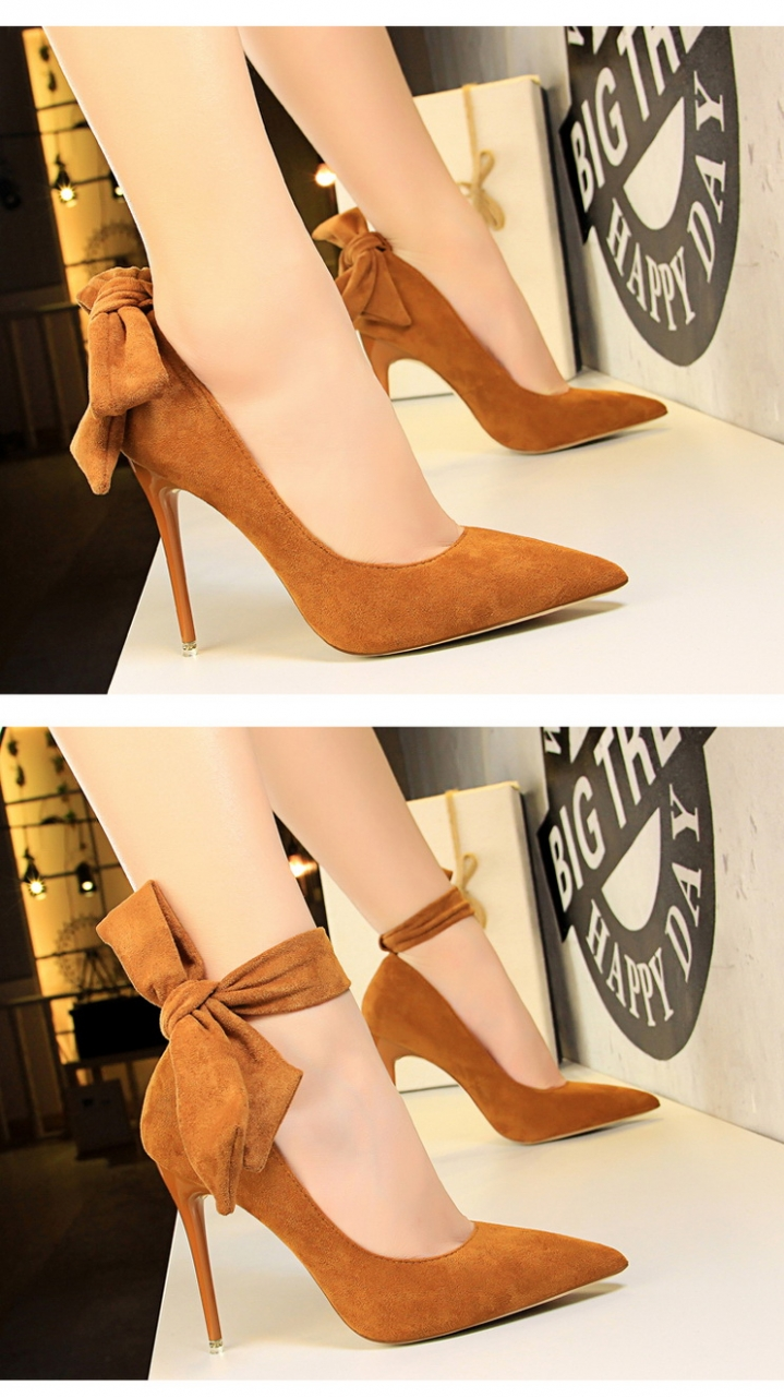 e4210a3a3a3 HiDook Changeable Style Suede Bowknot Pumps High Heels Pointed Toe ...