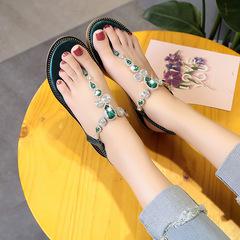 HiDook Summer Trend Roman Beach Pinch Flat Bottom Thong Rhinestone Sandal Women Student Casual Shoes dark green 37