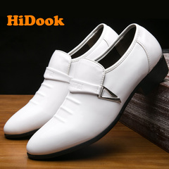 HiDook New Autumn Spring Tide Leather Men's Casual Office Microfiber Elite Style Large Size Shoes white 38 leather