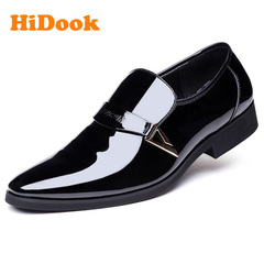 HiDook New Spring Summer Tide Leather Men's Casual Office PU Leather Elite Style Large Size Shoes black 43 leather