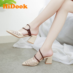 HiDook Summer Fashion Pointed Flat Thick High Heel Sandals Female Retro Hollow Women Shoes Slippers white 32