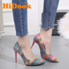 HiDook New High Heel Stiletto Pointed  Shoes Color Matching Large Size Woman Pumps Office Dress orange 34