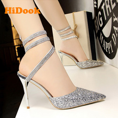 HiDook Sexy Nightclub Stiletto High Heel Shallow Mouth Pointed Shoes Shining Straps Women Sandals silver 34