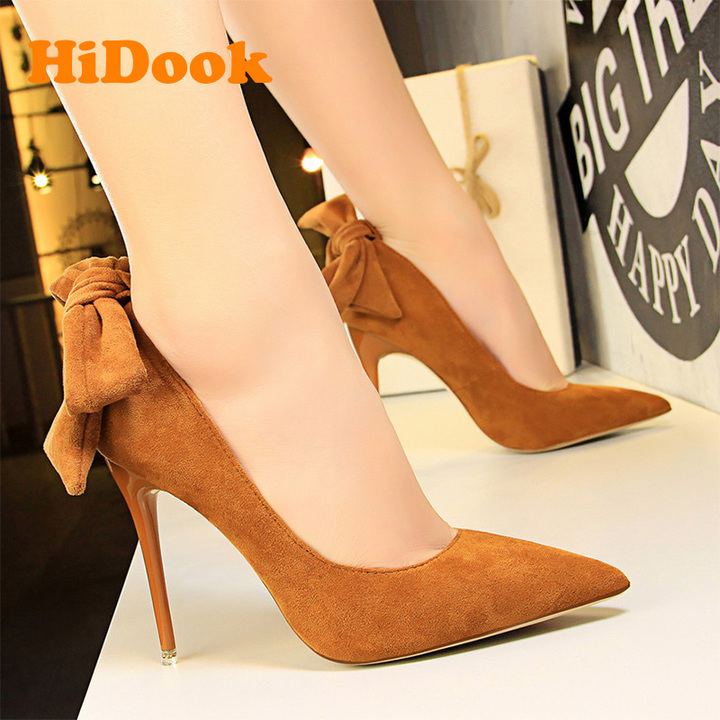 0b67d3d0fe2 HiDook Changeable Style Suede Bowknot Pumps High Heels Pointed Toe Sexy  Party Weeding Women Shoes camel