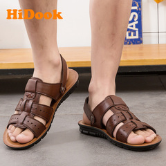 HiDook Summer Men's Large Size Casual Sandals Leather Beach Slide Shoes Slippers Open Toe Holes brown 38
