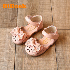 HiDook Summer 1-3 Years Old Baby Girl Student Half Hollow Sandals Bow Princess Dress Shoes Toddler pink 15