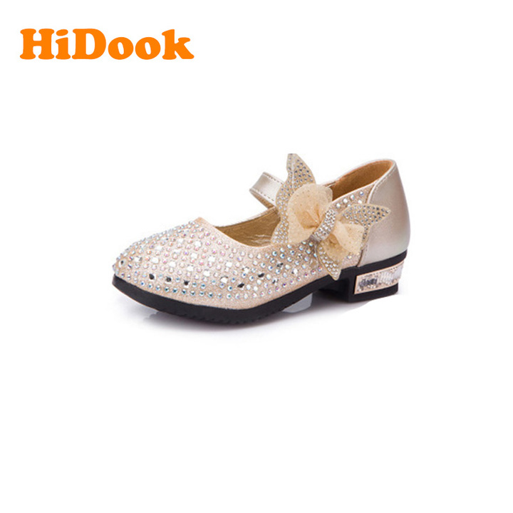 b449ded97a05 HiDook New Girls Princess Rhinestone Bow Shoes Childrens Kids Students  Wedding Dress Party Shoes gold 2