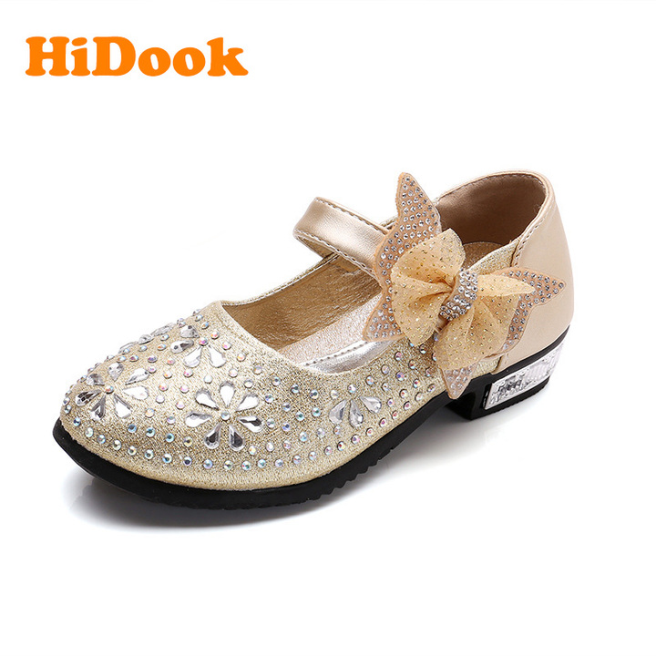 4b2a90ca30d7 HiDook New Girls Princess Rhinestone Bow Shoes Childrens Kids Students  Wedding Dress Party Shoes gold 1