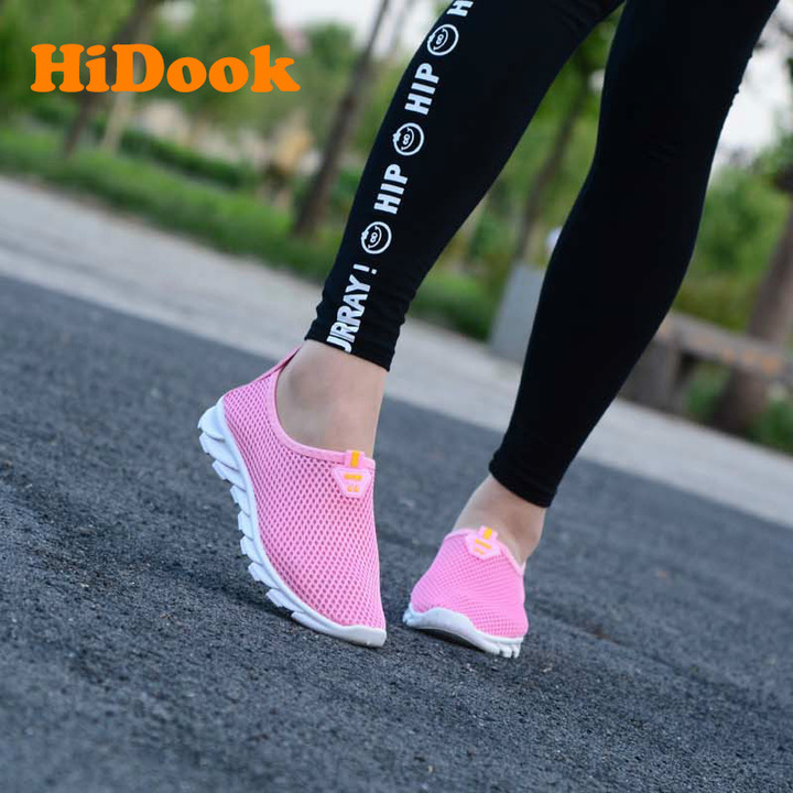 HiDook Women Mesh Sneakers Hollow Outdoor Sport Walking Running Light Shoes Students Loafers pink 35