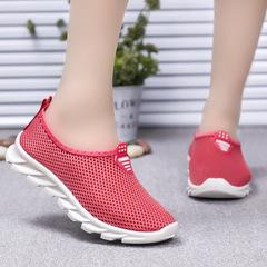 HiDook Women Mesh Sneakers Hollow Outdoor Walking Running Light Sport Shoes Students Loafers Femal dark pink 39