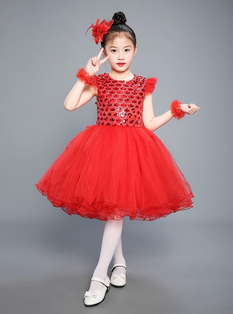 7a51ecc62be7 Little Girls Sequin Dress Mesh Tulle Flower Birthday Party Ball Gown ...