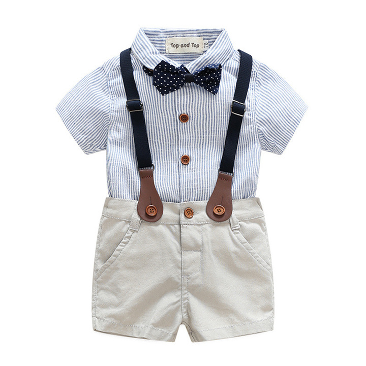 3b7f87ab2 Baby Boy Formal Outfit Short Sleeve Gentleman Suit light blue 80 cm ...