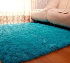 7*7 / 5.2*2.6 Ultra Soft Rug Fluffy Living Room Carpet Kids Anti-Skid Bedroom Bathroom Floor mat Blue 80*160cm
