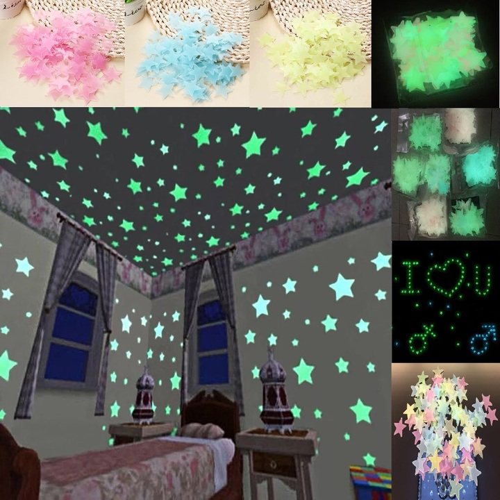 100Pcs Luminous Fluorescent Glow In The Dark Stars Wall Stickers Gift Kid Bedroom Home Decor Living Mix Color(100pcs/bag) 3cm(100pcs/bag)