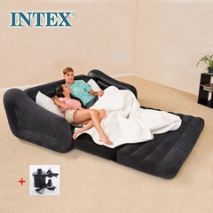 Intex Pull-out Sofa Inflatable Airbeds, durable folding sofa Air Bed Mattress with pump Queen sofa bed(193*231*71cm)+electric pump