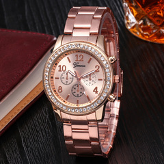 Geneva Women Watches For Lady Wrist Watch Luxury Quartz Stainless Steel Band Casual Fashion Gift Rose Gold One Size