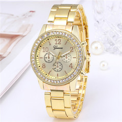 Geneva Women Watches For Lady Wrist Watch Luxury Quartz Stainless Steel Band Casual Fashion Gift Gold One Size