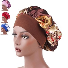 Satin Headscarf Hat Sleeping Bonnet Hair Wrap Silk Cap Fashion Head Scarf Headwear Night Sleep Hat Brown