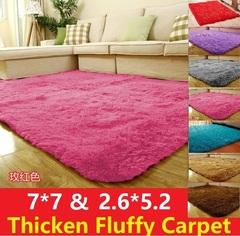 7*7 / 5.2*2.6 Ultra Soft Rug Fluffy Living Room Carpet Kids Anti-Skid Bedroom Bathroom Floor mat Pink 80*160cm