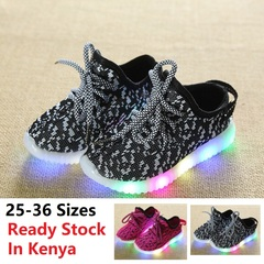 Kid Shoes For Boy Girl Sports Sneakers Baby Athletic Soft Running Casual LED Luminous Light Children black 36(inner length 21.6cm)