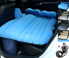Car Travel Inflatable Air Mattress Back Seats Camping Bed Cushion Universal Car SUV with Motor Pump Blue 138*85CM