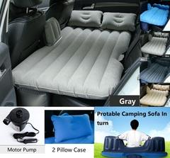 Car Travel Inflatable Air Mattress Back Seats Camping Bed Cushion Universal Car SUV with Motor Pump Gray 138*85CM