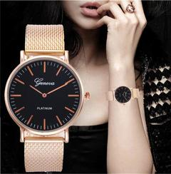 Geneva Lady Watch Women Watches Men Girl Lovers Wristwatch Luxury Stainless Steel Jewelry Gift Black Dial Rose Gold Band one size