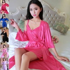 2pcs/Set Sexy lace Women Nightwear Nightgowns Nightdress Sleepwear Sleeping Night Dress Gowns Ladies Hot Pink Free Size