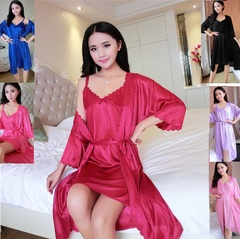 2pcs/Set Sexy lace Women Nightwear Nightgowns Nightdress Sleepwear Sleeping Night Dress Gowns Ladies Red Wine Free Size