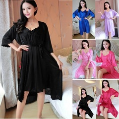 2pcs/Set Sexy lace Women Nightwear Nightgowns Nightdress Sleepwear Sleeping Night Dress Gowns Ladies Black Free Size