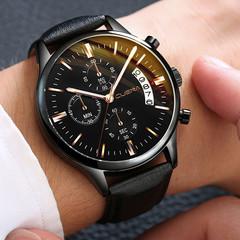 Men Watch leather straps Stainless Steel Good Quartz Luxury Business Man Wristwatch Valentines Gift Black (Black Dial Black Strap) one size
