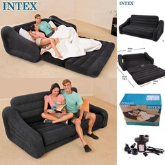 Intex Pull-out Sofa Inflatable Airbed Mattress Seat 2 Seater Durable Folding Air Bed With Pump Queen sofa bed(193*231*71cm)+electric pump