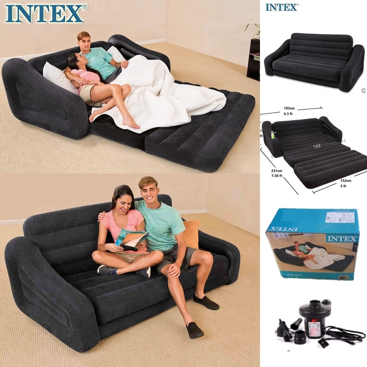 Intex Pull Out Sofa Inflatable Airbed Mattress Seat 2 Seater