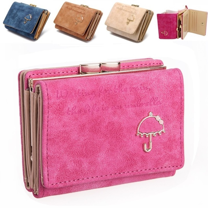Women's Leather Wallet Lady Trifold Purse Large Capacity Handbag clutch organizer with Card slots Pink 11cm*8cm*4cm