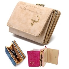 Women's Leather Wallet Lady Trifold Purse Large Capacity Handbag clutch organizer with Card slots Cream 11cm*8cm*4cm
