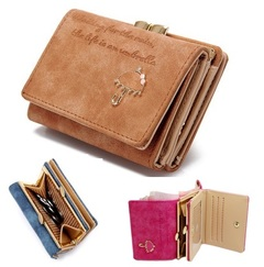 Women's Leather Wallet Lady Trifold Purse Large Capacity Handbag clutch organizer with Card slots Brown 11cm*8cm*4cm