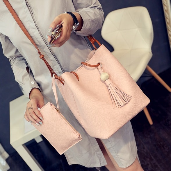 2Pcs/Set Women Handbag Lady Shoulder Tassel Bucket Bag Leather Handbags For Ladies Soft New Gift Pink 2pcs/set (22*26cm/8.7*10.2inch))