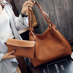 2Pcs/Set Large Size Women Handbag Lady Leather Shoulder Bag Handbags For Ladies Casual Soft Gift Big brown 2pcs/set (50*28cm+23+14cm)