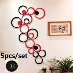 5pcs/Set DIY Home Wall Decor Decoration Living Room Bedroom Stereo Removable Hanging 3D Art Stickers Black 15+12.5+10+7.5+5cm  (5pcs set)