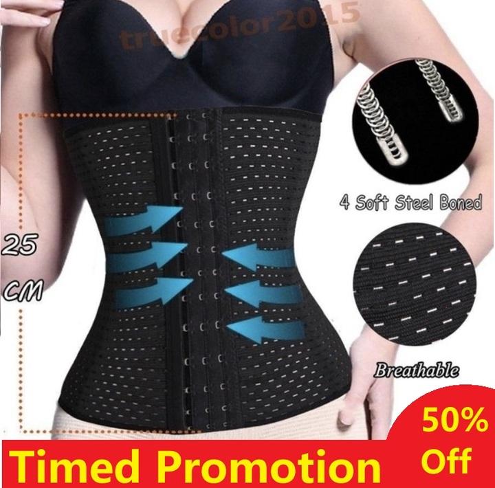 Waist Trainer Slimming Belt Slim Body Shaper Corset Trimmer Sport Gym Fat Burner Elastic Shapewear Black S (Fit Waist 24.5-26.7inch)