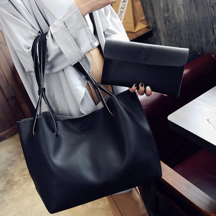 2Pcs/Set Large Size Women Handbag Lady Leather Shoulder Bag Handbags For Ladies Casual Soft Gift Big black 2pcs/set (50*28cm+23+14cm)