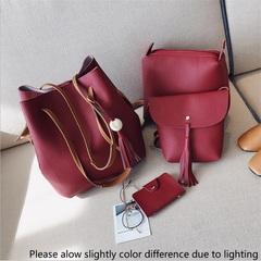 4Pcs/Set Women Handbag Lady Shoulder Tassel Bucket Bag Leather Purse Wallet Handbags For Ladies Gift Red 4pcs/set (24*27+22*17+19*18+11*7cm))