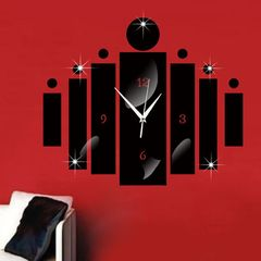 DIY 3D Wall Clock Decor Living Room Hanging Mute Digital Mirror Home Office Fashion Sticker Clocks black Free Size