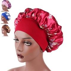 Satin Headscarf Hat Sleeping Bonnet Hair Wrap Silk Cap Fashion Head Scarf Headwear Night Sleep Hat Red